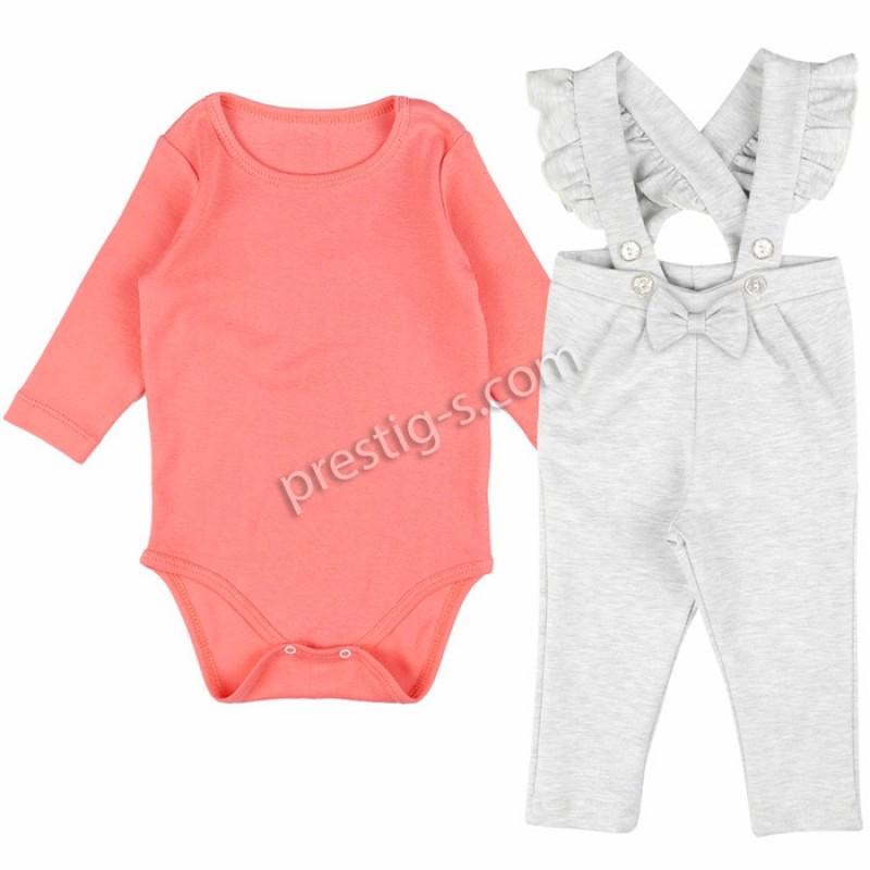 Бебешки комплект за Момиче в сьомга/сив м. /62-80/ м.617