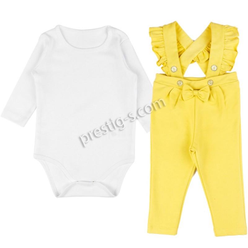 Бебешки комплект за Момиче в екрю/жълто /62-80/ м.617