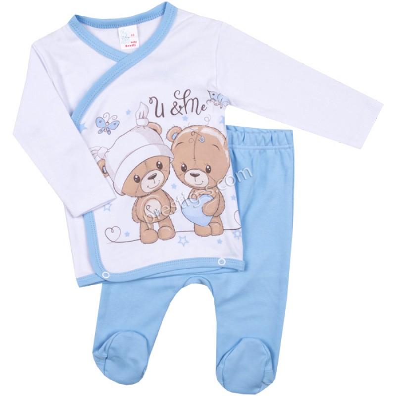 Бебешки комплект 2 ч. 2 Мечетa в бяло/синьо /50-68/ интерлог