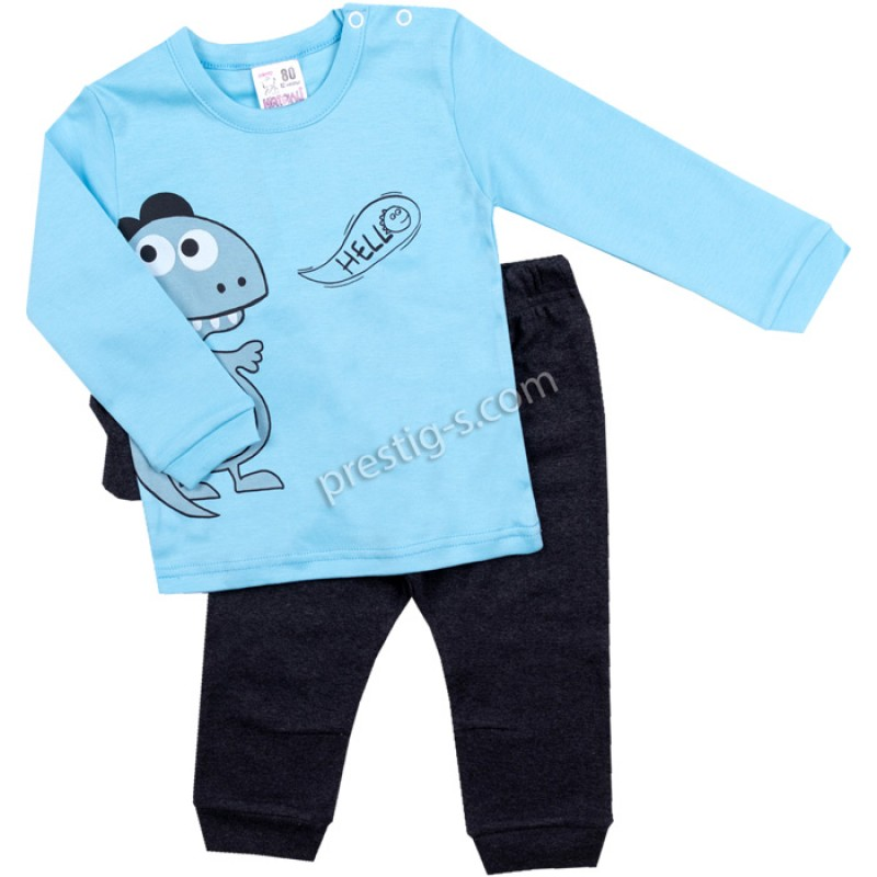 Комплект 2 ч.бебе Дино в ел.синьо /62-80/ интерлог