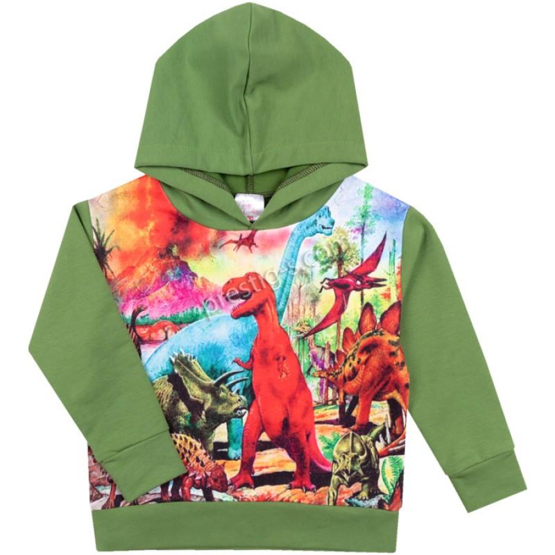 Суитшърт Динозаврите в зелено /98-140/ ликра
