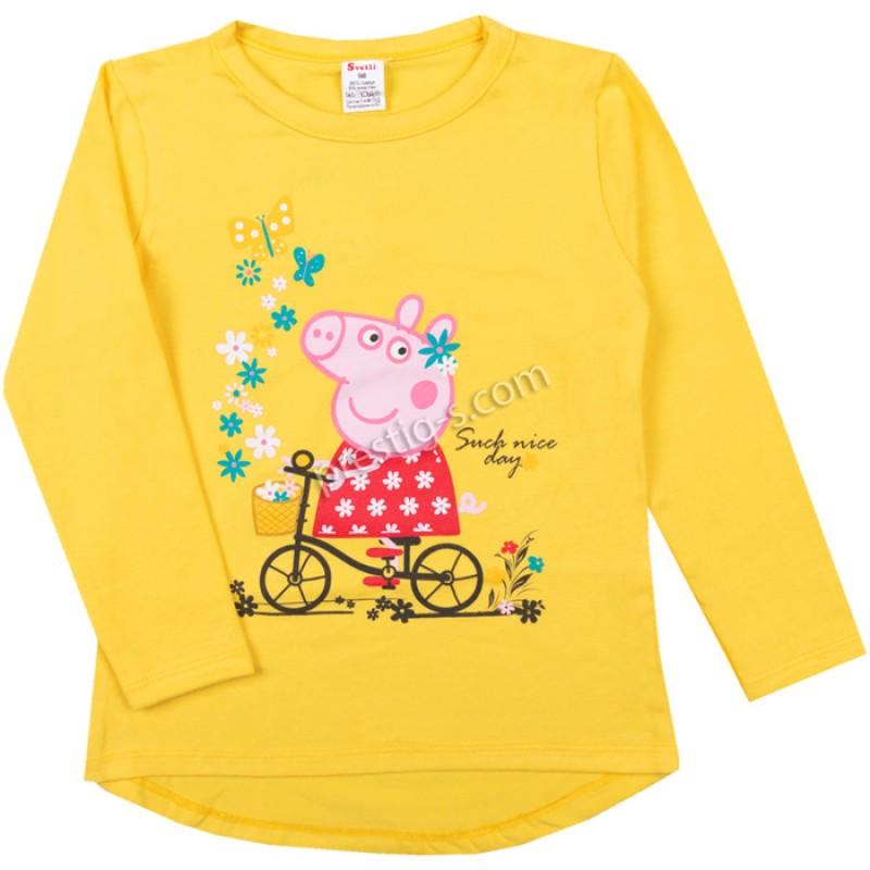 Блуза д.р. Пепи с колело в жълто /86-128/ ликра