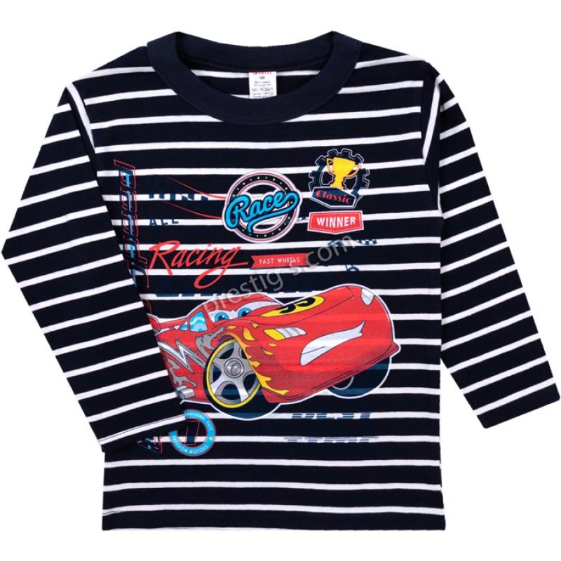 Блуза д.р. RaceMak райе в т.синьо /86-128/ ликра