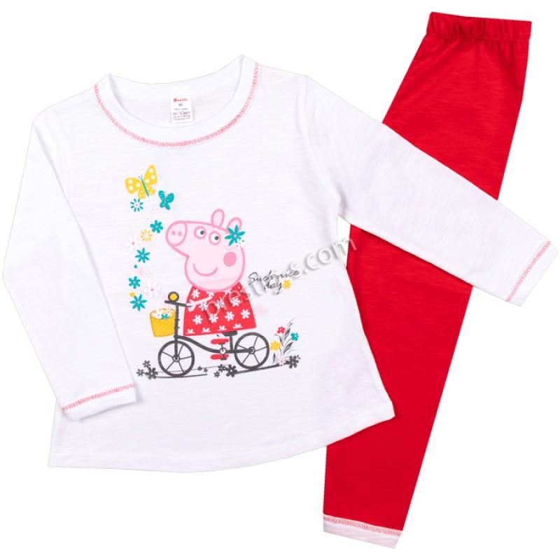 Пижама д.р. Пепи с колело в бяло/червено /86-128/ сингъл