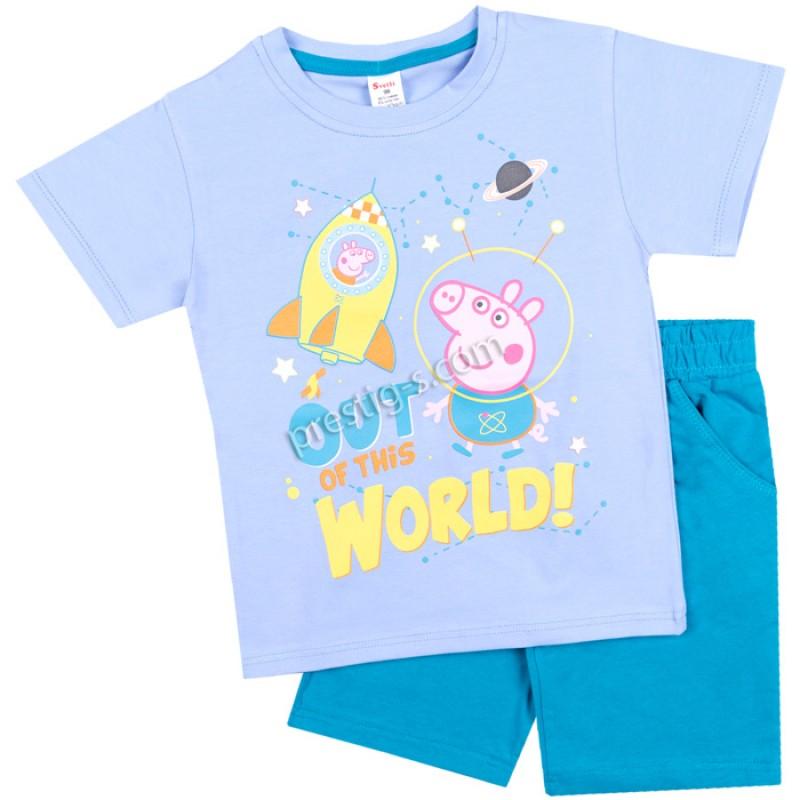 Тениска с к. панталон Джордж-астронавт-синьо/86-128/