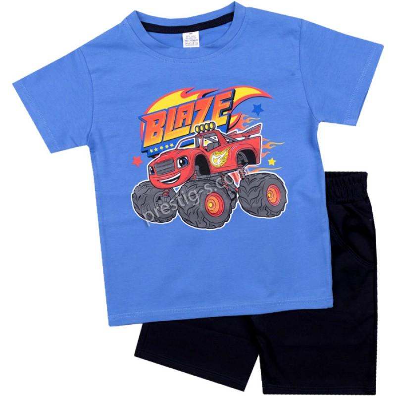 Тениска с къс панталон Blaze в синьо/т.синьо /86-128/