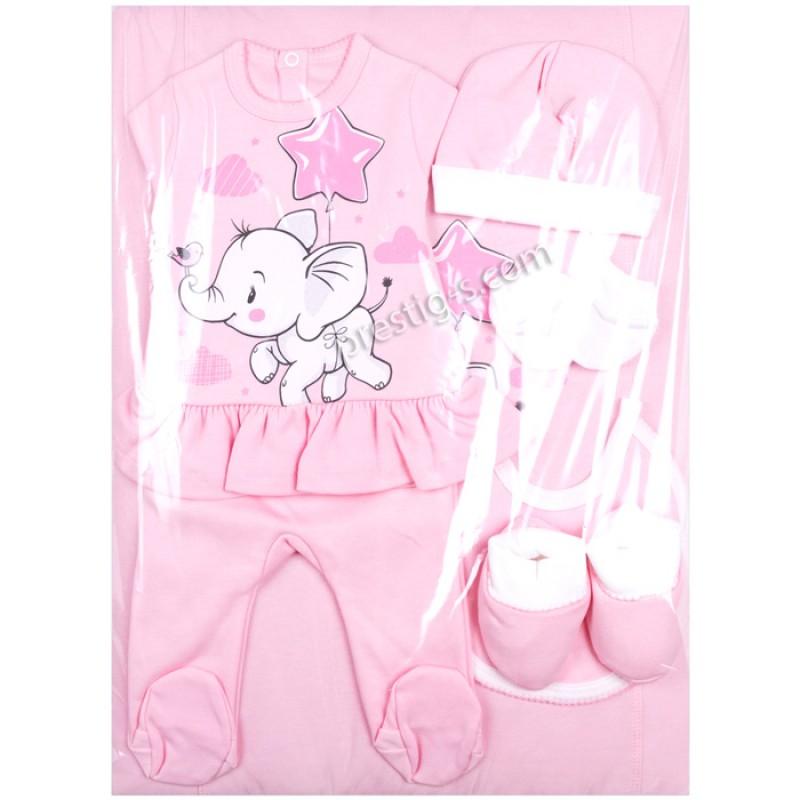 Комплект за изписване 8 ч. Слонче с балон звезда в розово-интерлог