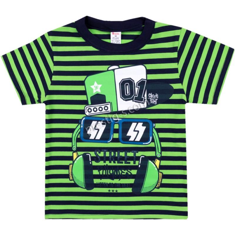 Тениска Слушалки райе в зелено /86-134/ ликра