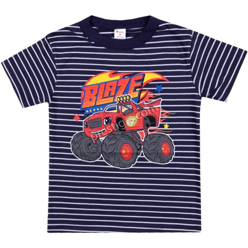 Тениска Blaze райе в тъмно синьо /86-128/ ликра