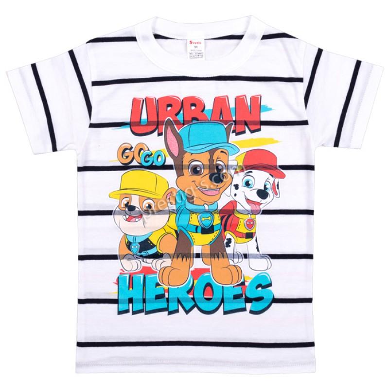 Тениска Urban райе в бяло/т.синьо /86-116/ ликра