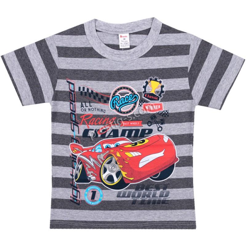 Тениска RaceMac райе в сив м./т.сив м. /86-128/ ликра