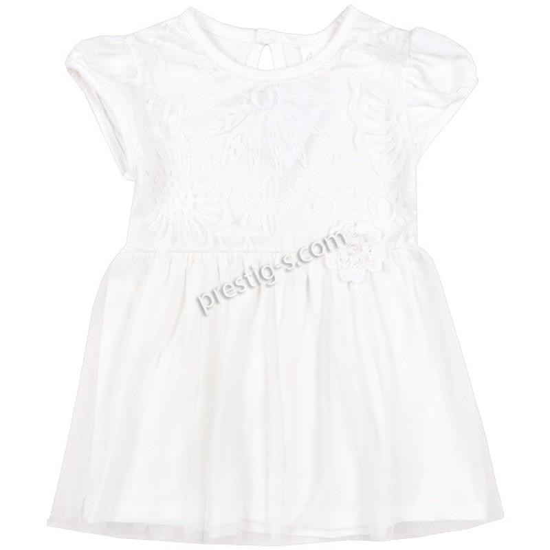Бебешка рокля к.р. Цветя в екрю /62-86/ ликра