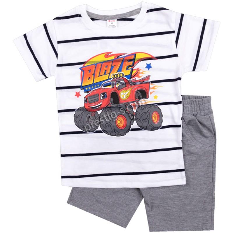 Тениска с къс панталон Blaze райе в бял/сив м. /86-128/ ликра