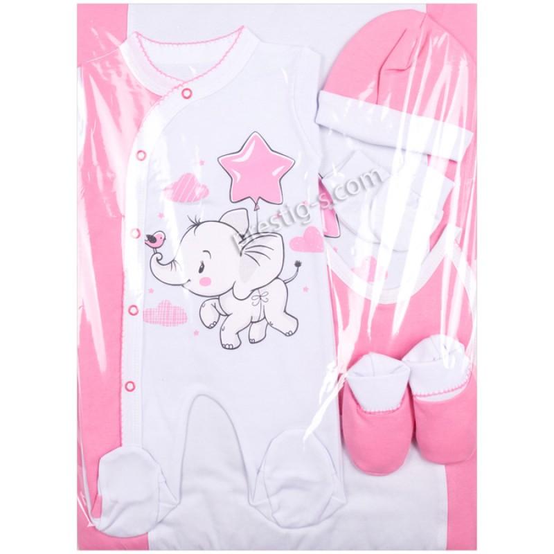 Комплект за изписване 7 ч. Слонче с балон звезда в бял/розов-интерлог