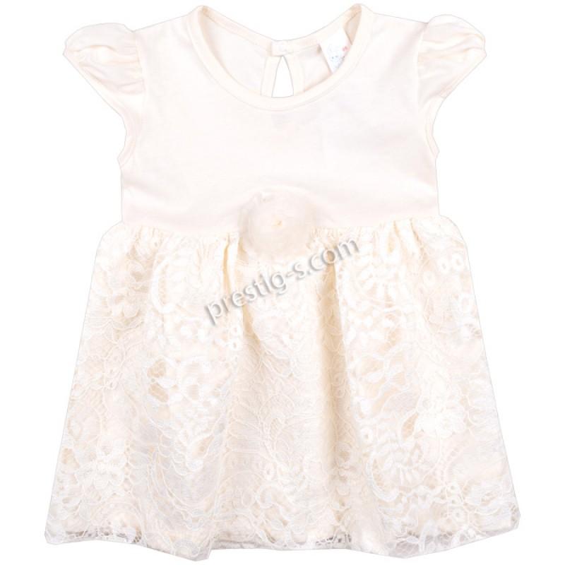 Бебешка рокля к.р. Роза с дантела в екрю /62-86/ ликра