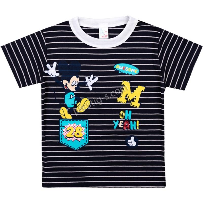 Тениска Момче 28 райе в екрю/черно /68-98/ ликра