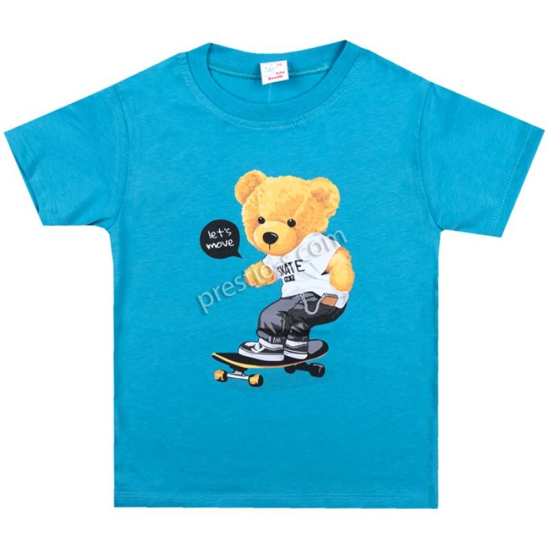 Тениска Мече на скейт в синьо /62-98/ ликра