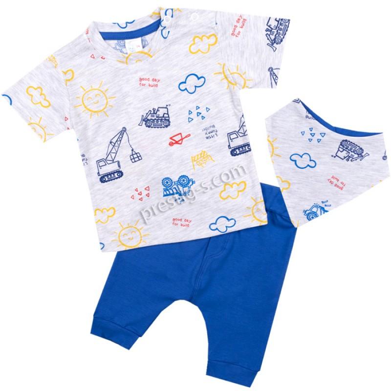 Бебешки комплект 3 ч. Превозни средства с тениска /56-74/ сингъл
