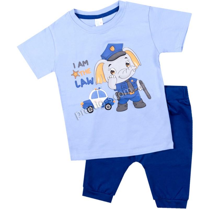 Тениска с късо потурче Слонче полицай в синьо /62-98/ ликра