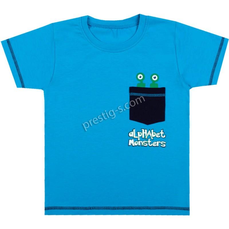Тениска с джобче Монстър в синьо /86-116/ ликра