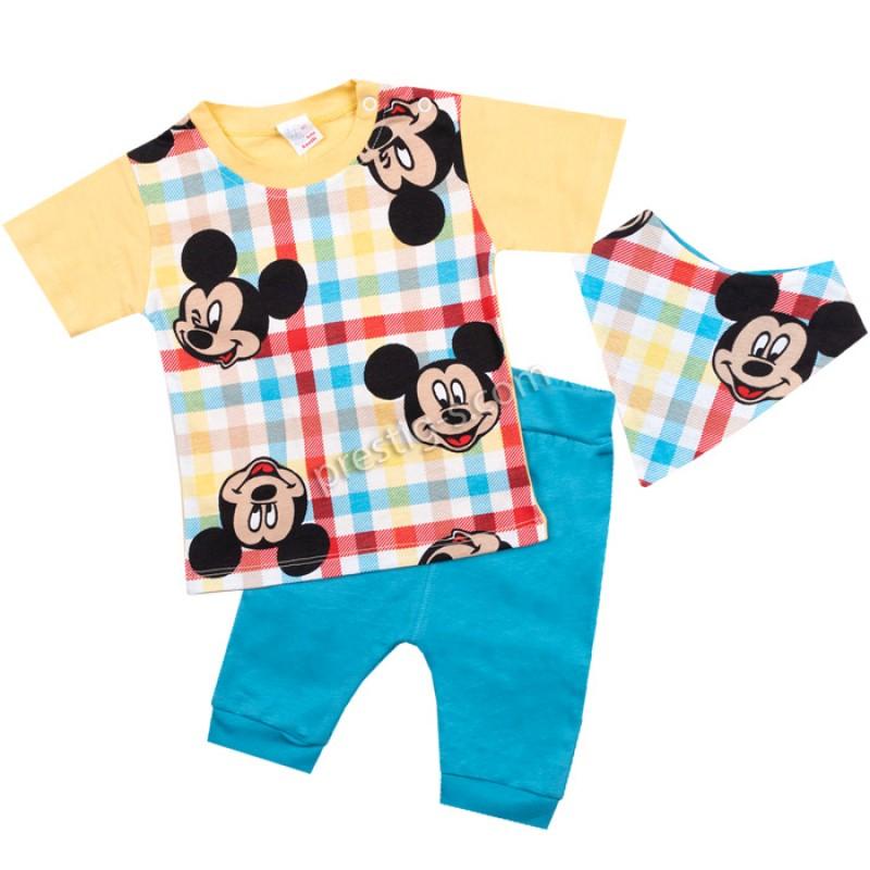 Бебешки комплект к.р. 3 ч. Момче-тениска в жълто/62-80/сингъл