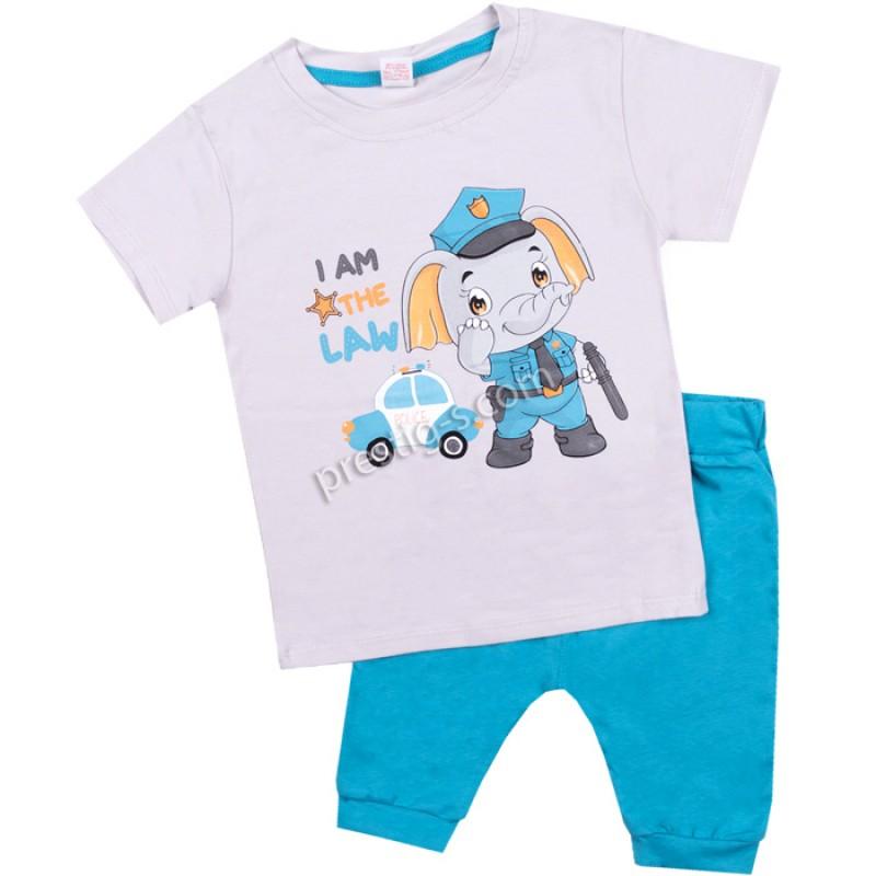 Тениска с потурче Слонче полицай в сиво /62-98/ ликра