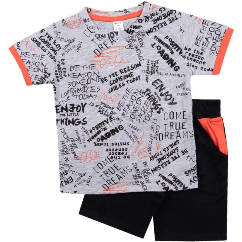 Тениска с къс панталон Надписи в сив м./оранж /104-134/