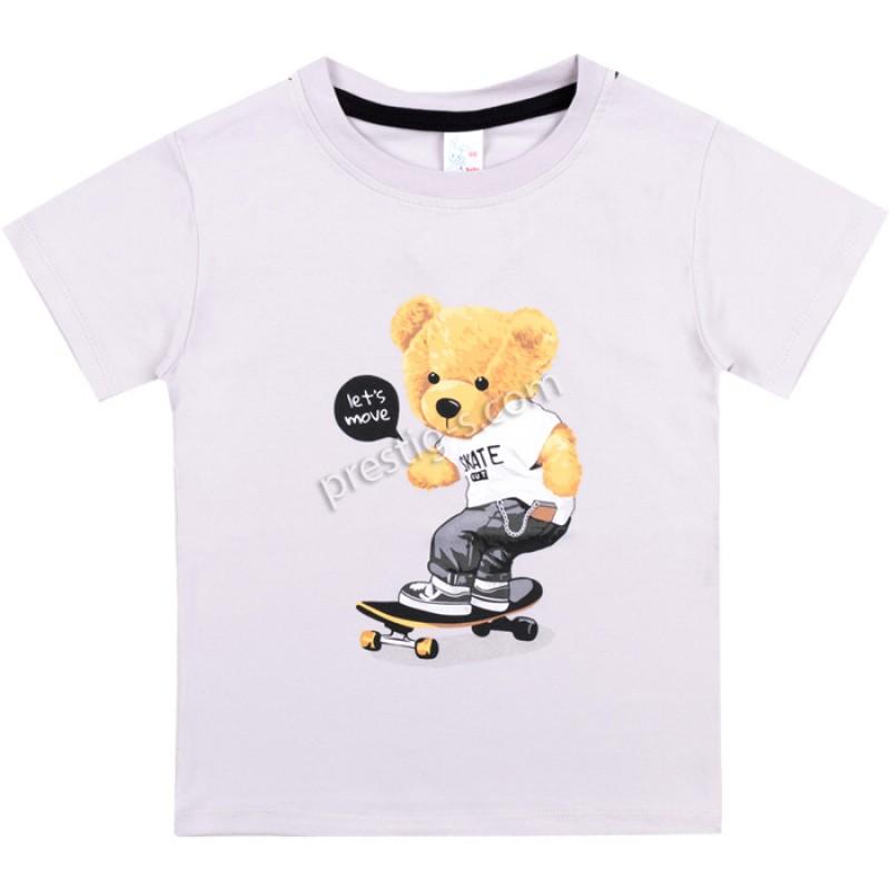 Тениска Мечe на скейт в сиво /62-98/ ликра