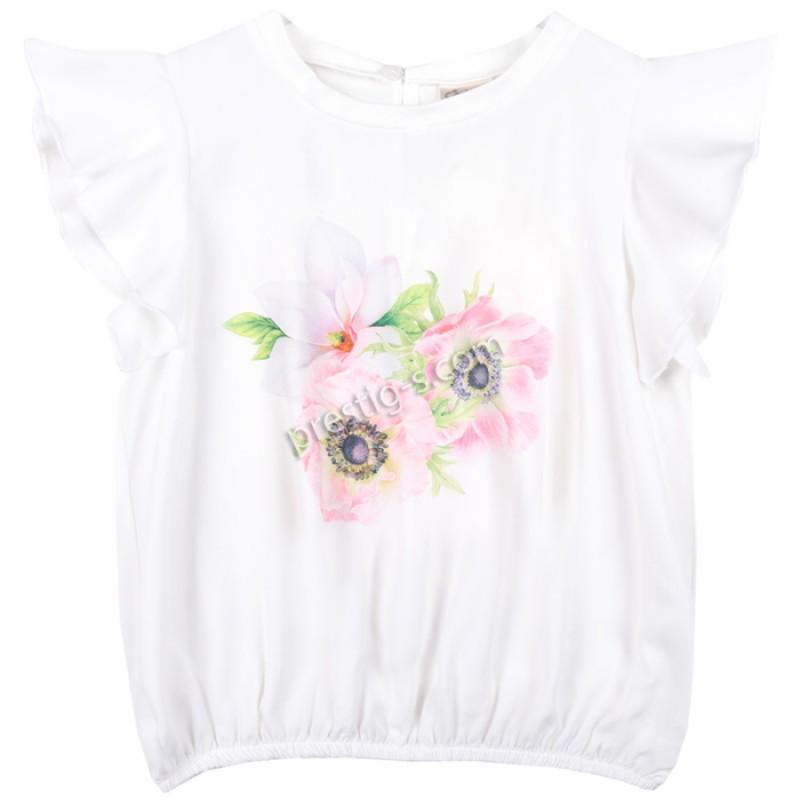 Блуза крилца 3 Цветенца в бяло /122-134/ м.601 338-3
