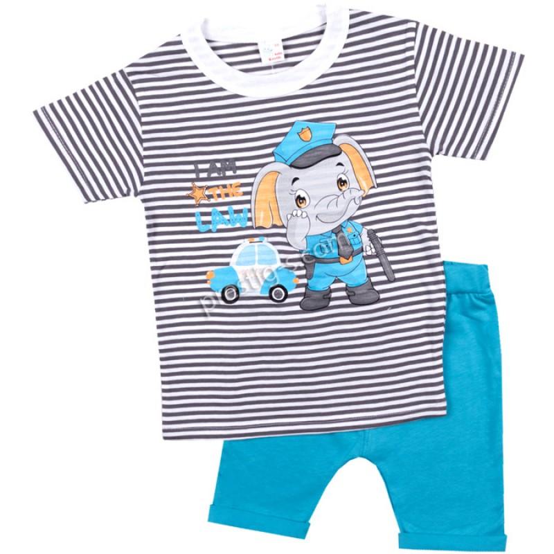 Тениска с късо потурче Слонче полицай в сиво райе/ел.синьо /62-98/ ликра