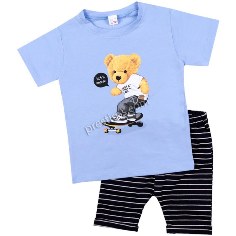 Тениска с късо потурче райе Мече на скейт в синьо/62-98/ ликра