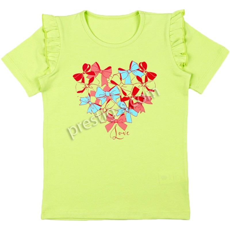 Блуза к.р. момиче Сърце м.631 в зелено /86-116/ ликра