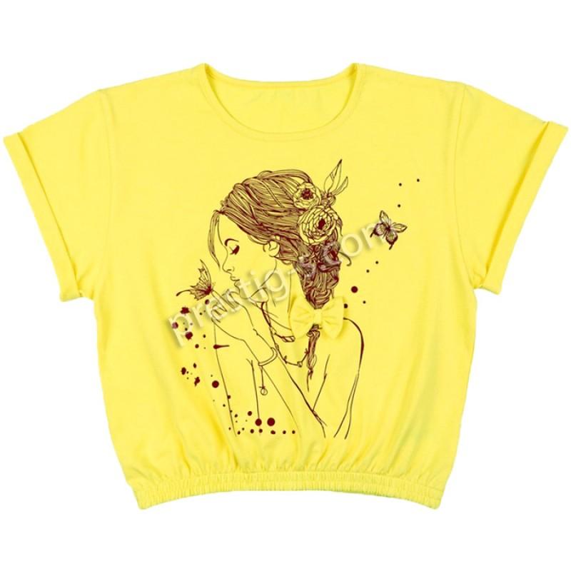 Блуза к.р. Момиче м.632 в жълто /122-152/ ликра
