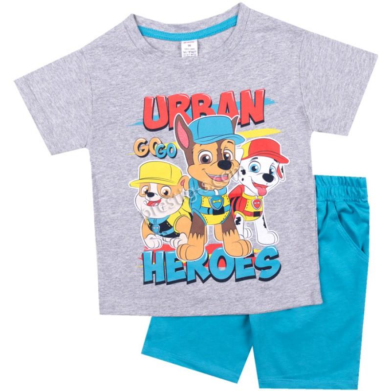 Тениска с к. панталон Urban в сив м./ел.син/86-128/