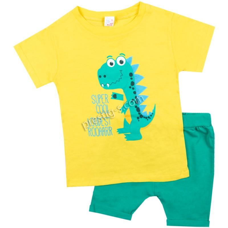 Тениска с к. потурче Динозавър в жълто/62-98/ликра