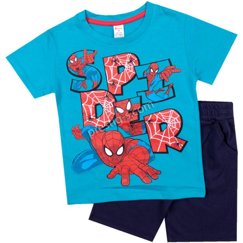 Тениска с къс панталон Спайд в синьо /86-128/