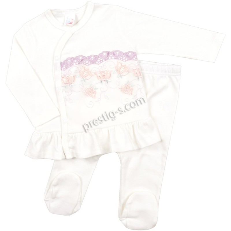 Бебешки к-т 2 ч. Дантела в екрю/лилаво /50-68/ интерлог