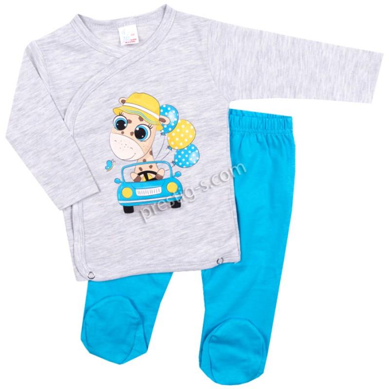 Бебешки комплект 2 ч. Жирафче в кола в сив м./ел.синьо /50-68/сингъл