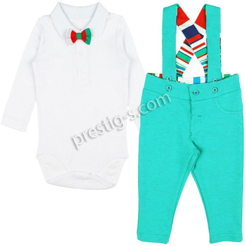 Бебешки комплект за Момче в мента меланж /62-80/ м.611