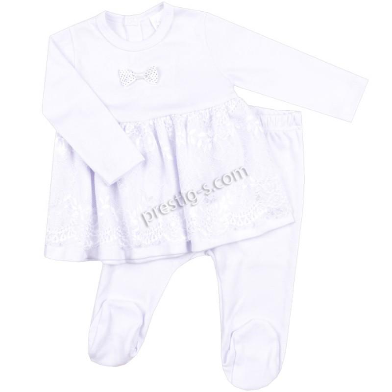 Бебешки комплект 2 ч. Дантела - бяла /50-56/ интерлог