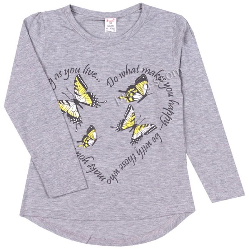 Блуза д.р. Пеперуди в сив меланж /86-98/ ликра