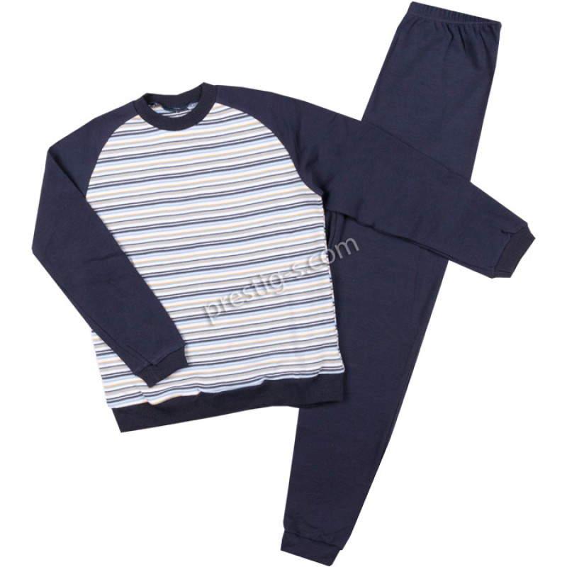 Пижама д.р. Момче м.51 в т.синьо райе /122-152/ интерлог