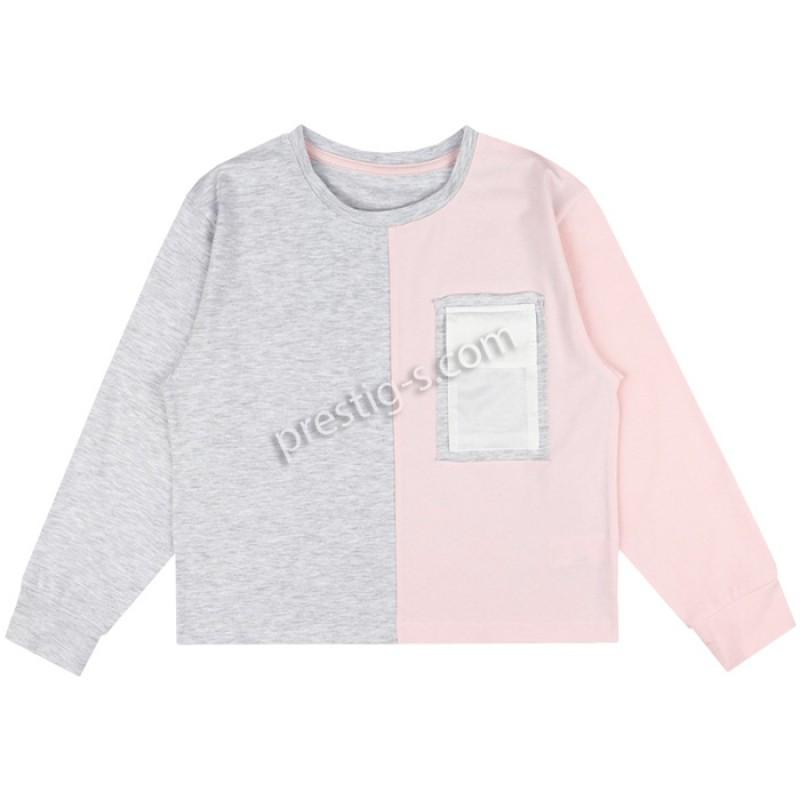 Блуза д.р. момиче м. 638 в сив м./пудра /128-158/ ликра