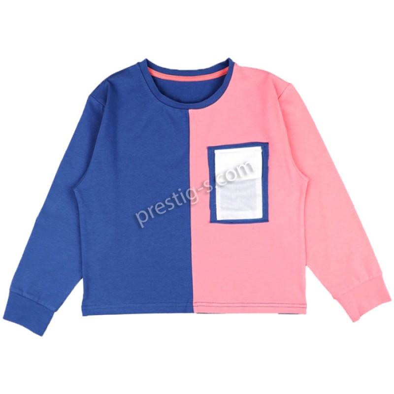 Блуза д.р. момиче м. 638 в джинс/праскова /128-158/ ликра