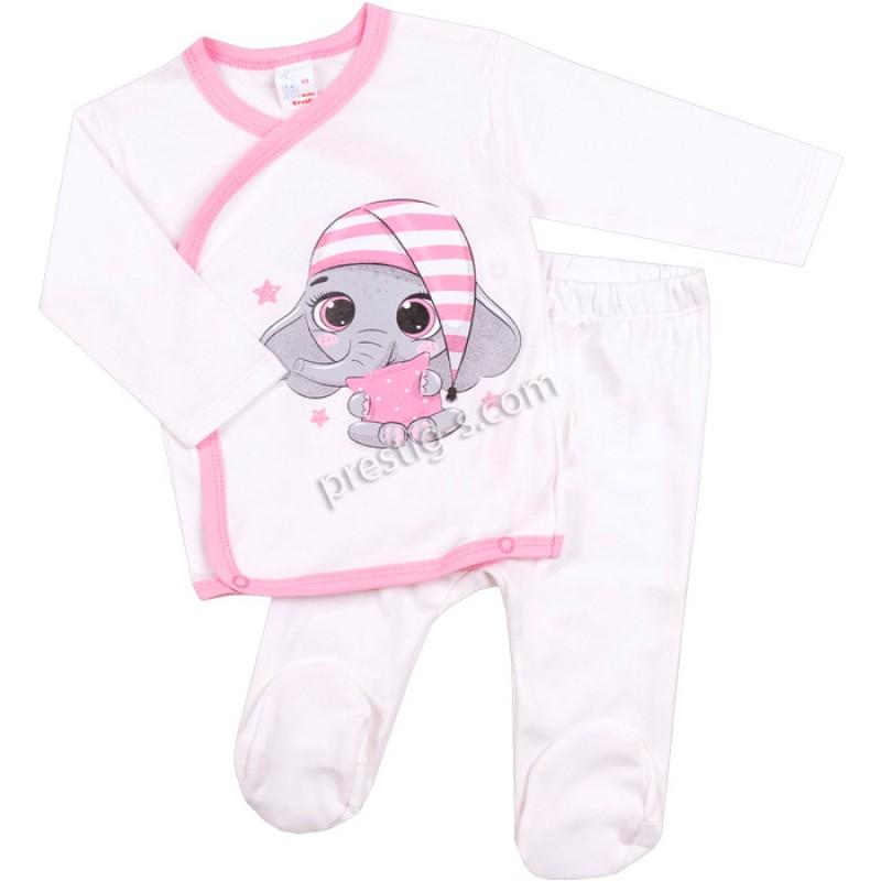 Бебешки комплект 2 ч. бебе Слонче в екрю/50-68/ рипс
