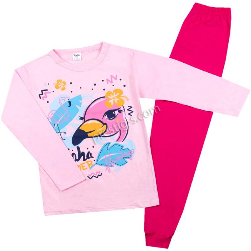 Пижама д.р. Фламинго в розово /122-134/ сингъл