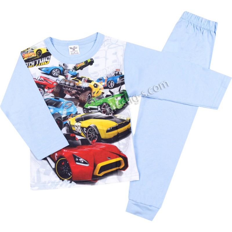Пижама д.р. Hot cars в св.синьо /98-116/ сингъл