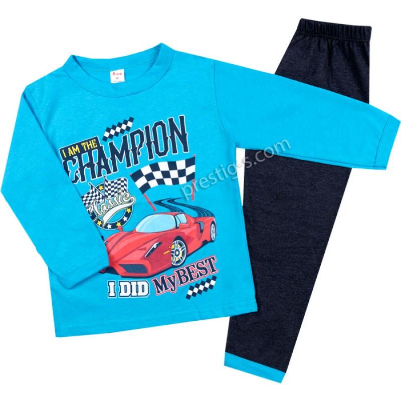 Пижама д.р. Шампион в синьо/т.син м./80-140/ сингъл