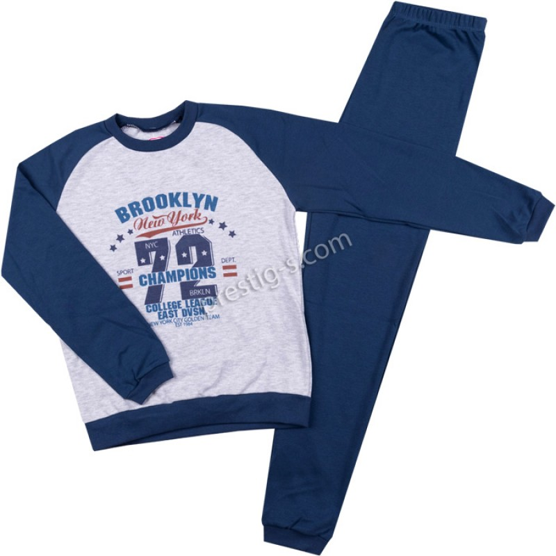 Пижама д.р. Brooklyn в т.син/сив м./122-152/ интерлог