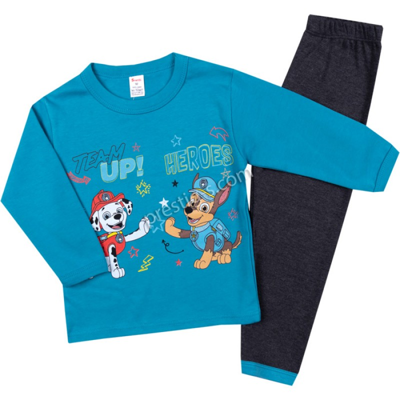 Пижама д.р. TEAM в н.синьо/графит меланж /80-116/ интерлог